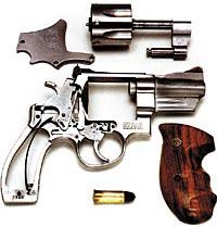 Неполная разборка револьвера «Смит-Вессон». Сверху хорошо виден откидной барабан с механизмом экстрагирования стреляных гильз.
