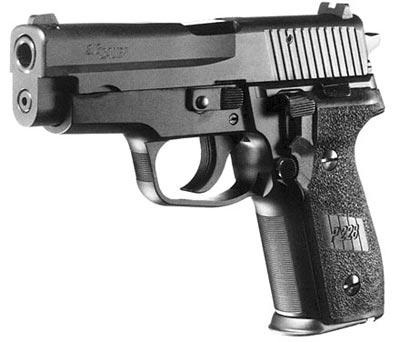 В пистолете SIG-Sauer Р.228 с левой стороны рамки над защелкой магазина смонтирован рычаг безопасного спуска курка с боевого взвода. При опускании его вниз он поднимает шептало, выводя его из зацепления с курком, который под действием боевой пружины вращается до тех пор, пока не зацепляется предохранительным пазом (спуском) с шепталом, исключая таким образом непосредственный контакт с ударником.