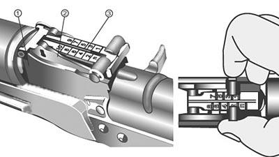 Секторный прицел автомата Калашникова и способ его установки: 1. Колодка прицела. 2.Сектор. 3.Прицельная планка.