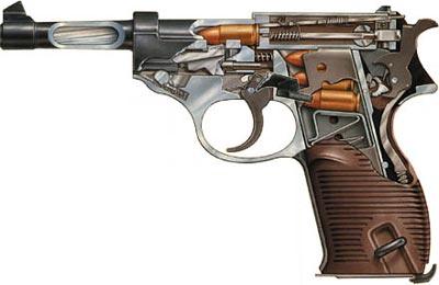 Схема немецкого пистолета «Вальтер» Р.38