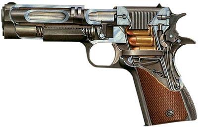 Разрез пистолета Кольт М 1911 А1, где отделяющийся при разборке ствол крепится к рамке с помощью серьги