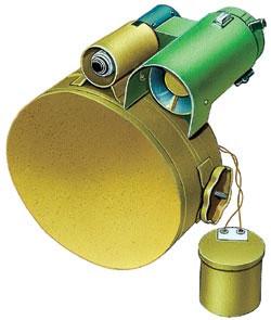 Противобортовая мина ТМ-83, СССР. Корпус металлический, масса мины - 20,4 кг, заряда ВВ - 9,6 кг («ударное кумулятивное ядро»), взрыватель - электронный неконтактный, датчики цели - сейсмический (предварительный) и инфракрасный (основной). Установка вручную