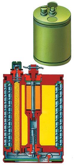 Противопехотная осколочная выпрыгивающая мина кругового поражения ОЗМ-72 (СССР) в разрезе. Корпус - металлический, масса - 5 кг