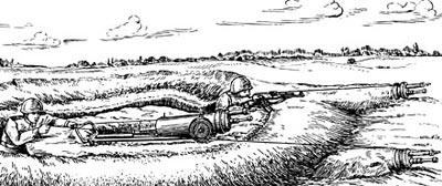 Установка тяжелого пехотного огнемета ТПО-50 в окопе и сменных стволов в наклонных окопах