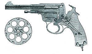 Продольный разрез 7,62-мм офицерского револьвера Наган обр.1895 г. (из русского наставления)