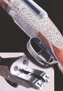 Модель №1 De Luxe - самая престижная горизонталка AYA. Классическое ружьё высшего класса с замками на досках, перехватывателями курков, двойным запиранием, бойками в брандтрубках. Стволы из хромо-никелевой стали. Лучшие материалы, тончайшая ручная работа и сказочный орнамент, несущий «клеймо» английского стиля в испанской интерпретации. Калибры - 12 и 20. Коробка ружья модели №1.