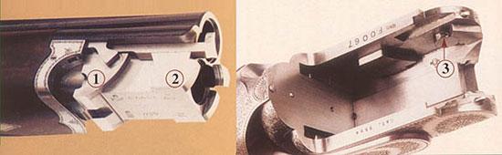 Ствольный блок и затворная коробка бокфлинта Босса образца 1909 г. 1 - боковой крюк (аналог переднего подствольного крюка), 2 - аналог заднего подствольного крюка, 3 - паз во вращающейся втулке.