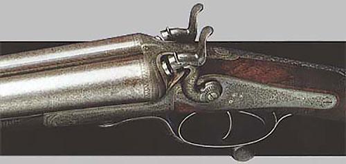 Курковая горизонталка 12-го калибра (№ 5167) с замками в шейку, дамасковыми стволами и нижним запиранием Г. Джоунза. Изготовлена в 1878 году.