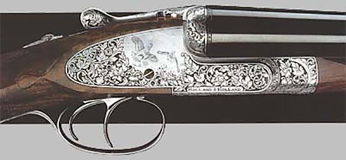Горизонталка серии Royal с подкладными замками на досках - калибры 12, 16, 20, 28 и .410. Цена - от 43.000 фунтов стерлингов.