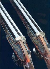 Пара гладкоствольных ружей лондонского мастера Нельсона с крупповскими стволами. Редчайший случай в английской ружейной практике