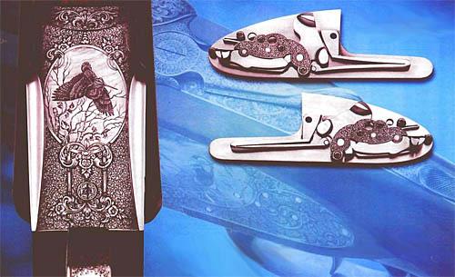 Ружье «ВЕНУС». Справа – нижняя сторона колодки ружья «ВЕНУС». В ней гармонично сочетаются различные приемы гравирования, что приводит к яркому художественному впечатлению и замки, обработанные с почти невероятной тщательностью и украшенные тонкой гравировкой.