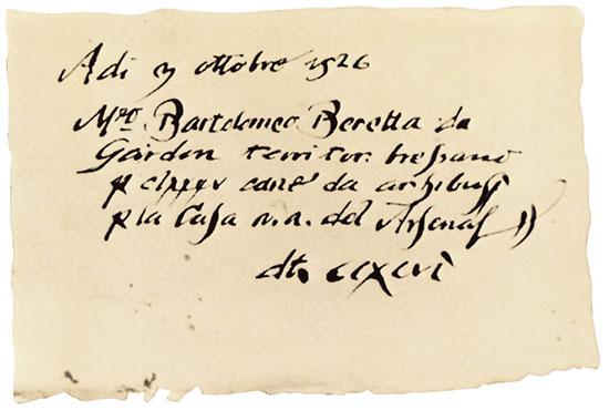 Заказ, полученный Бартоломео Беретта от Венецианской республики (3 октября 1526)