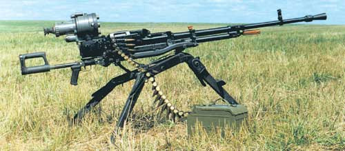 12,7-мм пулемёт НСВ-12,7 «Утёс» на станке производства ВПМЗ «Молот»