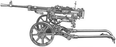 Станковый пулемет Горюнова модернизированный (СГМ) на упрощенном колесном станке конструкции Гаранина - Селезнева.
