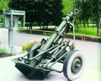 107-мм горно-вьючный полковой миномет обр. 1938 г. (ГВМП) (в походном положении на колесном ходу)