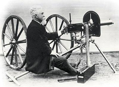 Изобретатель и его творение – «машина убийства», первый в мире полностью автоматический пулемет