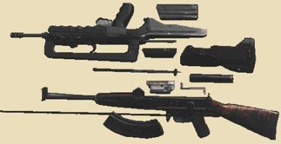 Французская 5,56-мм автоматическая винтовка FAMAS (сверху) и 7,62-мм автомат Коробова ТКБ-517 (снизу) в разобранном виде