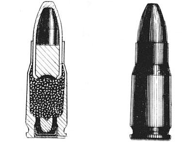 Схема 5,45 х18 пистолетного патрона 7 Н7 (МПЦ): 1) капсюль; 2) гильза; 3) пороховой заряд; 4) свинцовый сердечник; 5) стальной сердечник; 6) биметаллическая оболочка; Т2 - наковальня. У2 - отверстия. Ф2 - проточка. Х2 - дульце. Ц2 - скат