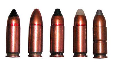 9 х21 пистолетные патроны (слева — направо): СП-10 — с бронебойной пулей со стальным термоупрочненным сердечником; СП-11 (индекс 7 Н28) — с пулей со свинцовым сердечником в биметаллической оболочке; СП-12 (индекс 7 Н29) — с пулей со стальным сердечником; образцовый; учебный