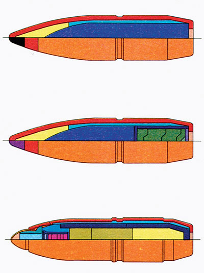 1. Бронебойно-зажигательная пуля Б-32, 2. Бронебойно-зажигательно-трассирующая пуля БЗТ, 3. Осколочно-зажигательная пуля МДЗ