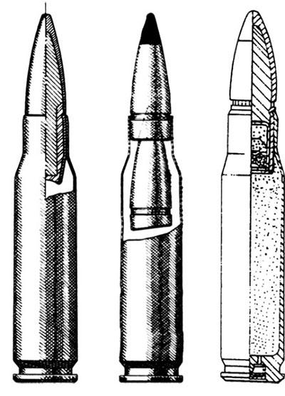 Схемы 7,62х51 винтовочного патрона НАТО (слева направо): с бронебойной пулей L78. (Франция); двухпульного патрона М 198. (США); с трассирующей пулей М 62
