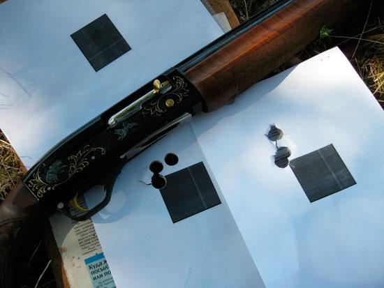 мишени отстрела пули Иванова через парадокс из МР-153 с дистанции 35 м