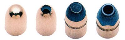 Пули разных конструкций к 9 х19 пистолетным патронам «Парабеллум»: 1. обычная оболочечная пуля FMJ; 2. оболочечная пуля с пустотой в головной части НР; 3. полуоболочечная пуля; 4. полуоболочечная пуля с пустотой в головной части