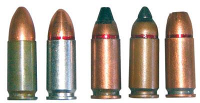Отечественные 9х19 пистолетные патроны (слева — направо): 9х19.000 Ульяновского механического завода; 9х19 ПСО Тульского патронного завода; 7 Н21; ПБП (7 Н31); патрон с пулей пониженной рикошетирующей способностью со свинцовым сердечником