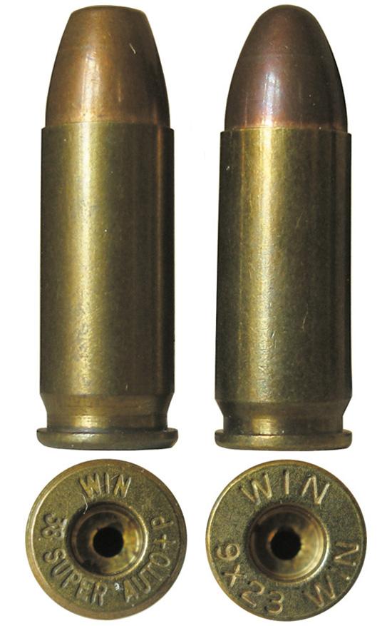 Патрон 9х23 Winchester (справа) в сравнении с полуфланцевым патроном .38 Super Auto (слева)
