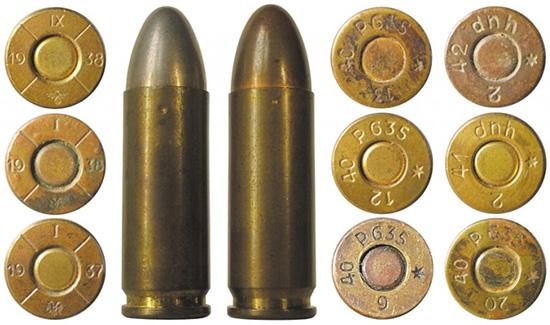 9×25 Mauser австрийского и немецкого производствапроизводства периода  Гражданской войны; 2-4 — боевые патроны испанского производства; 5 —  испанский учебный патрон