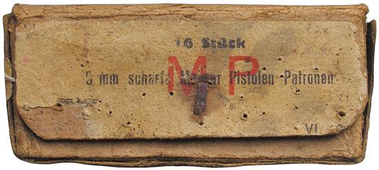Австрийская военная картонная коробка на 16 патронов 9х25 Mauser Export