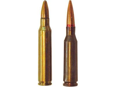 5,56х45 винтовочный патрон М 193 американского  производства (слева), 5,45х39 автоматный патрон 7Н6 советского  производства (справа)