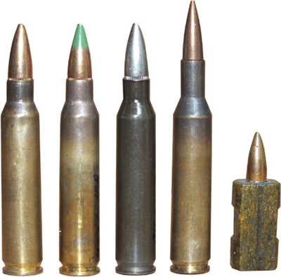 Малоимпульсные винтовочные патроны, принявшие  участие вконкурсных испытаниях повыбору истандартизации нового  винтовочного патрона НАТО в1977–1980-м годах(слева— направо): 5,56-мм  американский винтовочный патрон М 193; 5,56-мм бельгийский винтовочный  патрон SS 109; 5,56-мм французский винтовочный патрон М 193состальной  гильзой; 4,85-мм английский винтовочный патрон ХL2E1; 4,7-мм  западногерманский безгильзовый патрон 4,7мм х 21-0Н