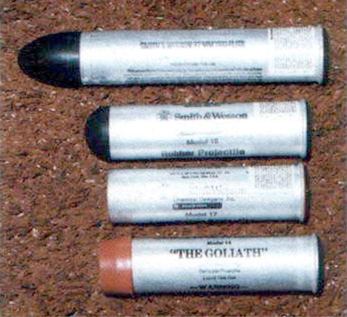 Патроны с газовыми гранатами и резиновыми пулями к 37-мм полицейскому гранатомету «Smith & Wesson»