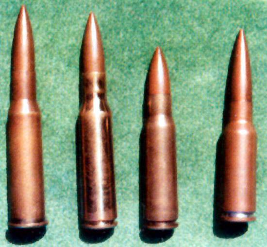 Слева направо: 7,62-мм винтовочный патрон (7,62×53); 7,62-мм опытный  винтовочный патрон с гильзой без фланца (7,62×53); 7,62-мм опытный  единый патрон 1948 года (7,62×46); 7,62-мм опытный единый патрон 1962 2  года (7,62×41)