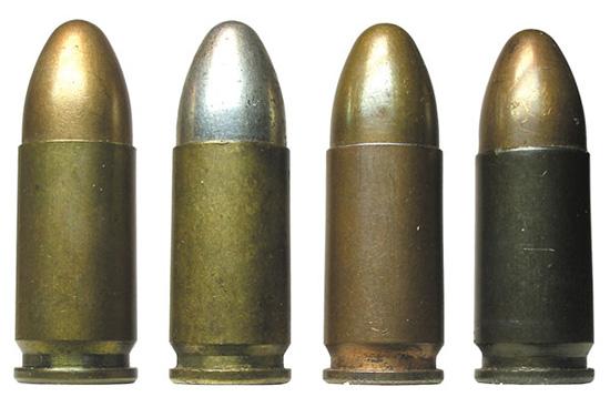 Варианты исполнения Pistolenpatrone 08: 1,2— в латунной гильзе; 2—  никелированная оболочка пули; 3 –в биметаллической гильзе; 4— в  стальной лакированной гильзе