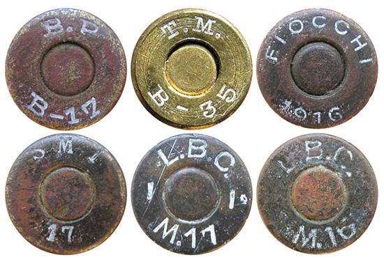 Варианты маркировки на патронах 9х19 Glisenti