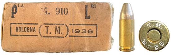 Коробка и патрон 9х19 Glisenti, изготовленные фабрикой Pirotecnico di Bologna в 1936 году