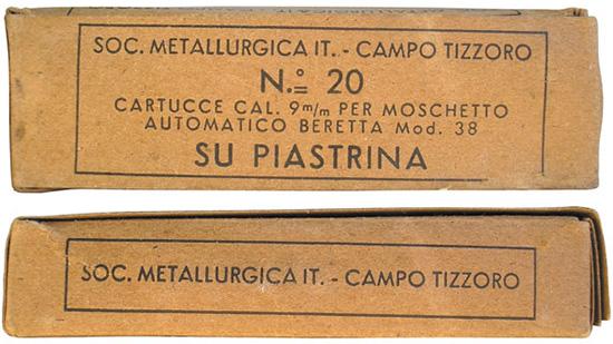 Картонные коробки итальянских военных патронов 9х19 М38
