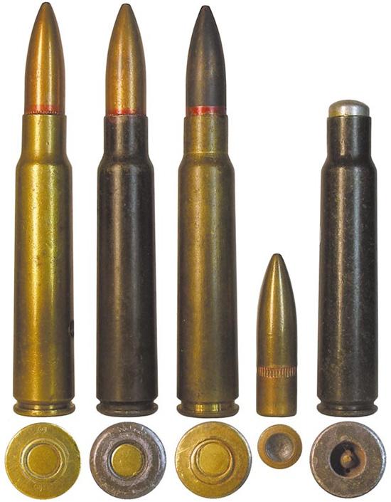 Безфланцевые 7,7-мм патроны: 1-3— винтовочные патроны с пулей Тип 99 и специальной пулей массой 11,86г.; 4— короткобойный патрон Тип 99 с пулей в алюминиевой оболочке