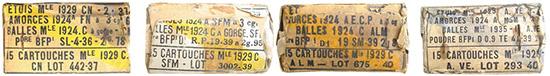 Этикетки на коробках с патронами Mle 1929C— с обычными пулями Mle 1924C (с желтой полосой) и зажигательной пулей Mle 1935 I (с синей полосой)