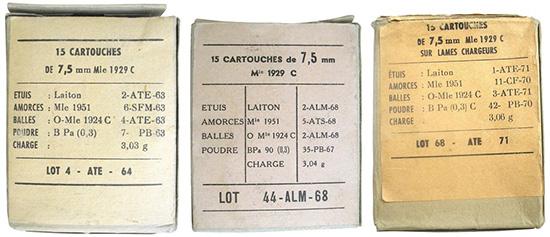 Картонные коробки с патронами 7,5х54 с обычными пулями O Mle 1929C послевоенного выпуска