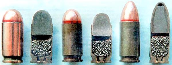 Слева - направо: патроны 9х17, 9х18, 9х19