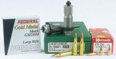 Компоненты для снаряжения: набор матриц RCBS из двух частей, капсюли Large-Rifle и пули диаметром .277.