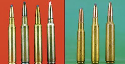 Никогда не было недостатка в самодельных калибрах диаметра 0,28 дюйма, основанных на .30-06 или .375 H&H Magnum. Левая часть, слева направо: стандартный .280 Rem, .280 RCBS, .280 Ackley Improved и разработанный Дж. Сандрой 7 mm JRS. Правая часть: в Европе самые популярные семёрки - это 7х57 (слева) и 7х64 (в центре). Справа – 7x68 Vom Hoffe, патрон с уменьшенным рантом, как у .284 Win.