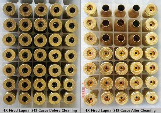 Четырежды переснаряженные гильзы Lapua калибра .243 до (слева) и после (справа) чистки.