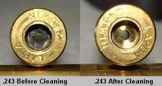 Гильза калибра .243 до (слева) и после (справа) чистки.