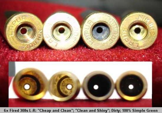 Шестикратно отстрелянные гильзы калибра .308, слева направо: