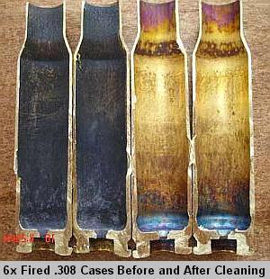 Гильзы 308-го калибра после шести переснаряжений: до чистки и после.