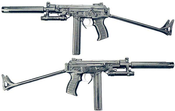 Пистолет-пулемет ОЦ-02 «Кипарис» с разложенным прикладом, с лазерным целеуказателем (ЛЦУ) и прибором бесшумной стрельбы (ПБС)
